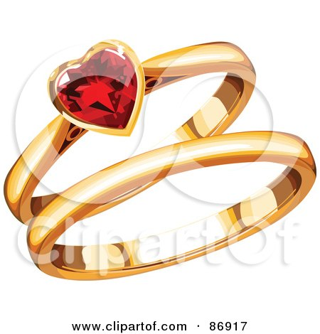 Royalty-Free (RF) Clipart Illustration of Gold His And Hers Wedding Bands With A Ruby Heart by Pushkin
