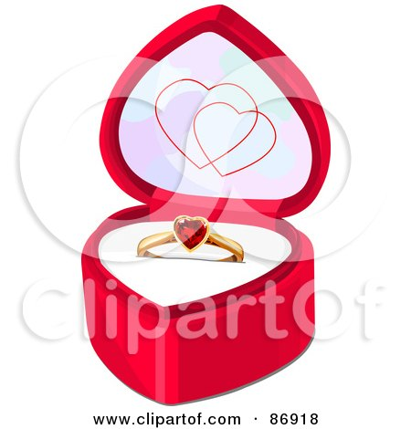 Royalty-Free (RF) Clipart Illustration of a Ruby Heart Engagement Ring In A Pink Ring Box by Pushkin