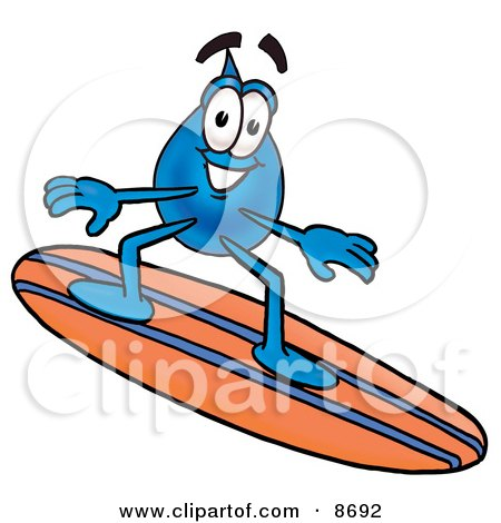 water drop cartoon. Water Drop Mascot Cartoon Character Surfing On A Blue And Orange Surfboard