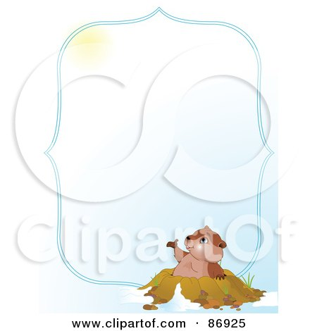 Royalty-Free (RF) Clipart Illustration of a Cute Groundhog Emerging From His Hole And Looking Up At The Sun, With A Blue Border And Copyspace by Pushkin