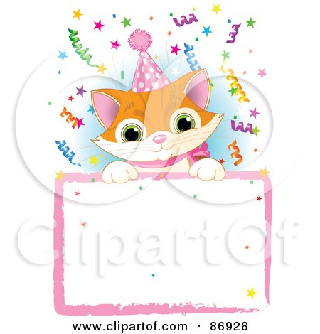 Royalty-Free (RF) Clipart Illustration of an Adorable Orange Kitten Wearing A Party Hat And Looking Over A Blank Party Sign With Colorful Confetti by Pushkin