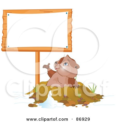 Royalty-Free (RF) Clipart Illustration of a Cute Groundhog Emerging From His Den And Presenting A Blank Sign Post by Pushkin