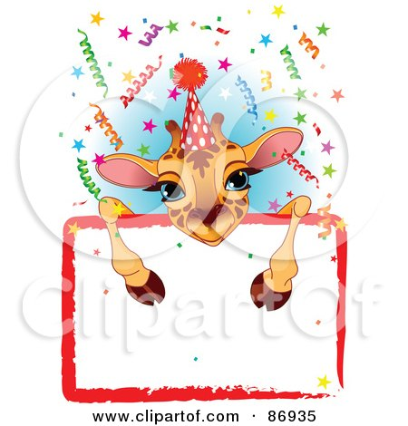 Royalty-Free (RF) Clipart Illustration of an Adorable Giraffe Wearing A Party Hat And Looking Over A Blank Party Sign With Colorful Confetti by Pushkin