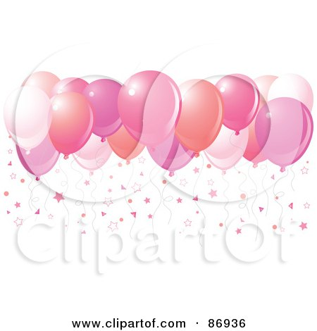 Royalty-Free (RF) Clipart Illustration of Different Shades Of Pink Balloons With Star Confetti by Pushkin