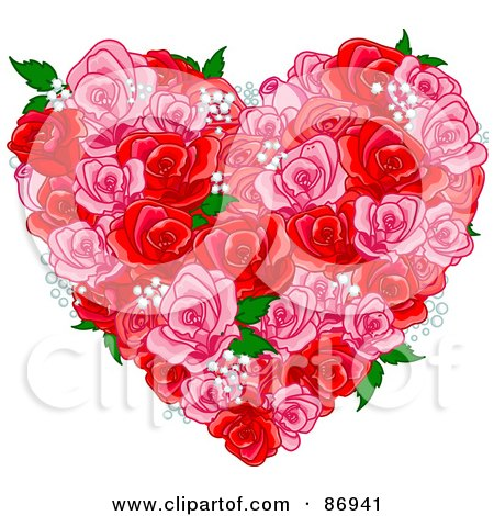 Royalty-Free (RF) Clipart Illustration of a Floral Heart Of Pink And Red Roses, Babys Breath And Green Leaves by Pushkin