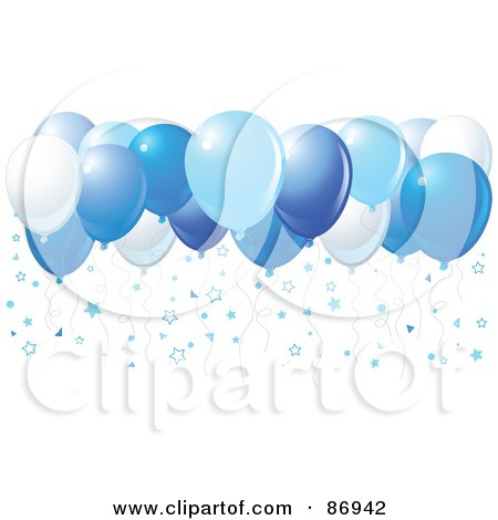 Royalty-Free (RF) Clipart Illustration of Different Shades Of Blue Balloons With Star Confetti by Pushkin