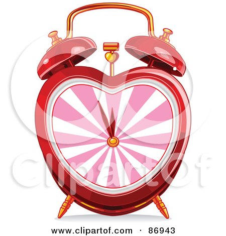 Royalty-Free (RF) Clipart Illustration of a Red Heart Shaped Alarm Clock With A Pink Face by Pushkin