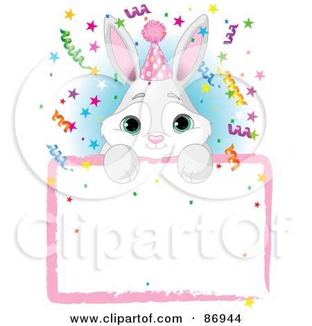 Royalty-Free (RF) Clipart Illustration of an Adorable Bunny Wearing A Party Hat And Looking Over A Blank Party Sign With Colorful Confetti by Pushkin