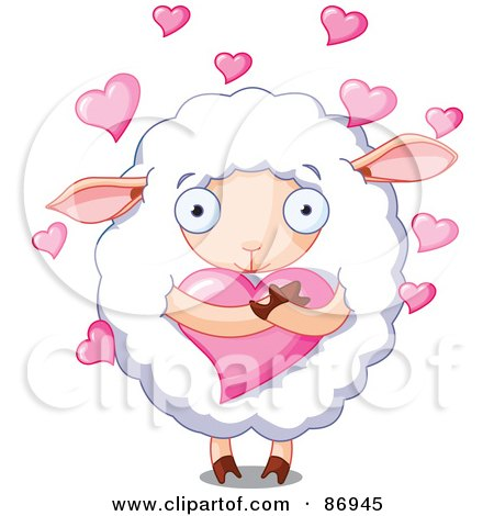 Royalty-Free (RF) Clipart Illustration of Hearts Floating Around A Cute Sheep Hugging A Heart by Pushkin