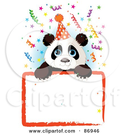 Royalty-Free (RF) Clipart Illustration of an Adorable Panda Wearing A Party Hat And Looking Over A Blank Party Sign With Colorful Confetti by Pushkin
