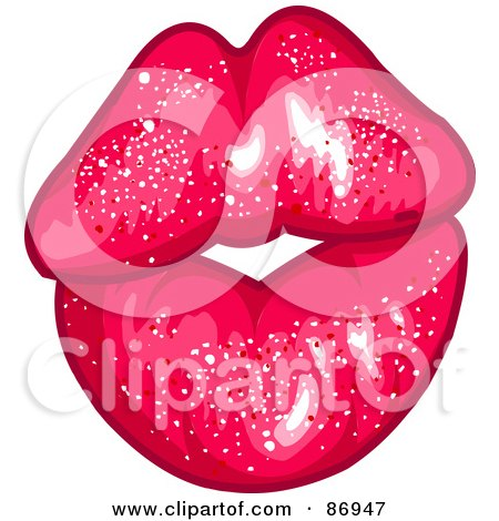 Royalty-Free (RF) Clipart Illustration of a Sparkly Pink Pair Of Puckered Lips by Pushkin