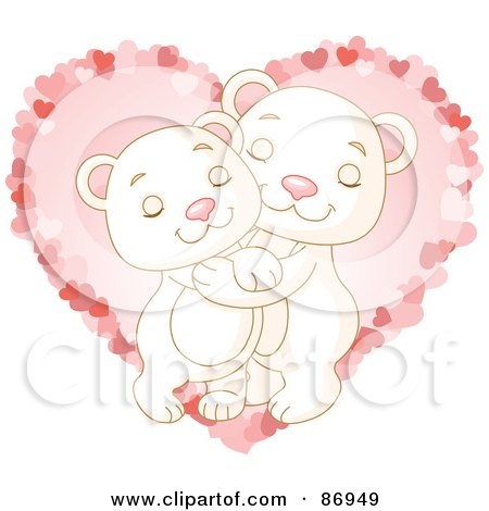 Royalty-Free (RF) Clipart Illustration of a Sweet Polar Bear Couple Hugging Over A Pink Heart by Pushkin