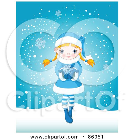 Royalty-Free (RF) Clipart Illustration of a Cute Blond Winter Girl Dressed In Blue, Holding A Snowflake In Her Hands by Pushkin