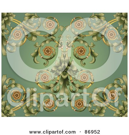 Ornate Curling Vine On Green Background Posters, Art Prints