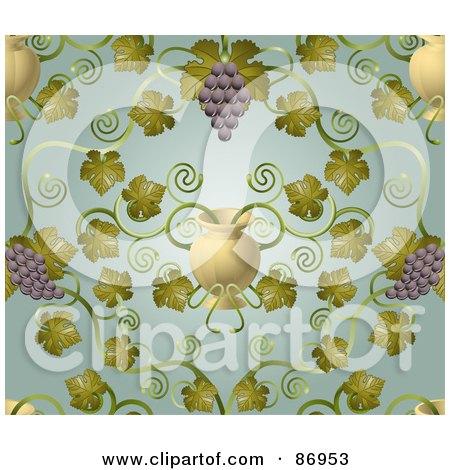 Ornate Purple Grape Vine And Urn Pattern Background Posters, Art Prints