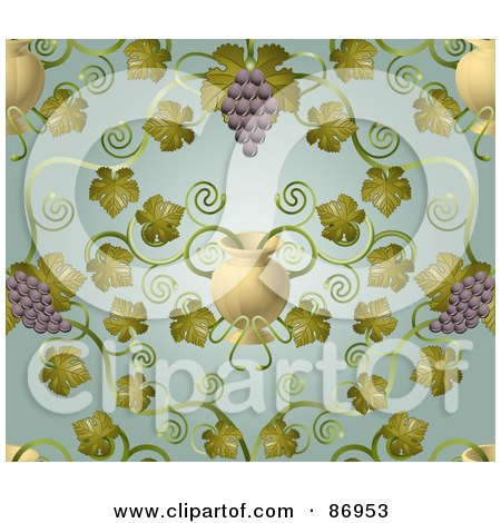 Royalty-Free (RF) Clipart Illustration of an Ornate Purple Grape Vine And Urn Pattern Background by AtStockIllustration