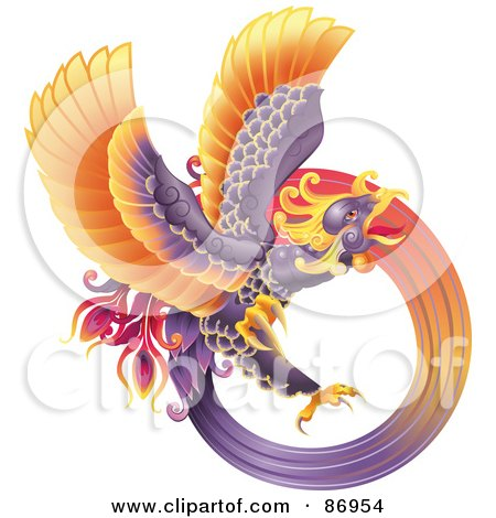 Royalty-Free (RF) Clipart Illustration of a Majestic Oriental Purple Phoenix by AtStockIllustration