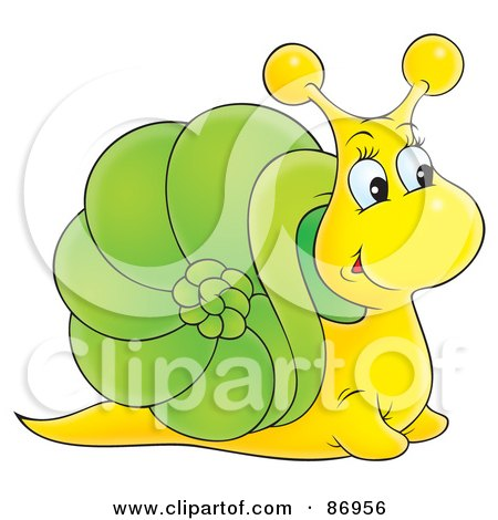 Royalty-Free (RF) Clipart Illustration of a Curious Yellow And Green Snail With A Big Nose by Alex Bannykh