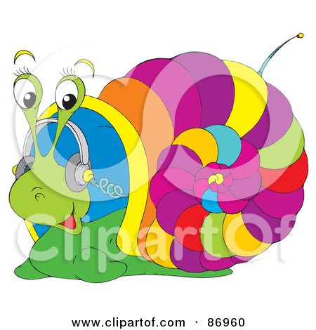 Royalty-Free (RF) Clipart Illustration of a Colorful Snail Listening To Music Through Headphones by Alex Bannykh