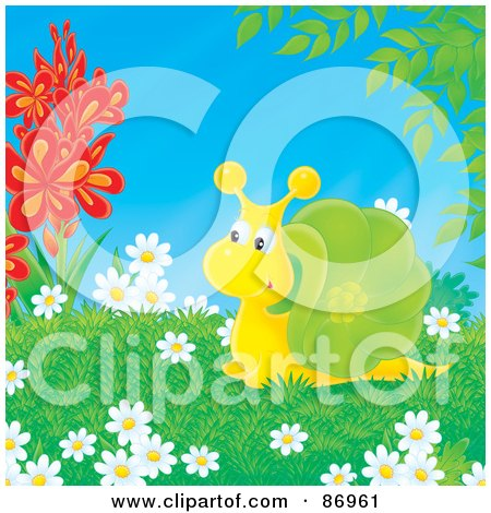 Royalty-Free (RF) Clipart Illustration of a Cute Yellow And Green Snail Surrounded By Flowers by Alex Bannykh