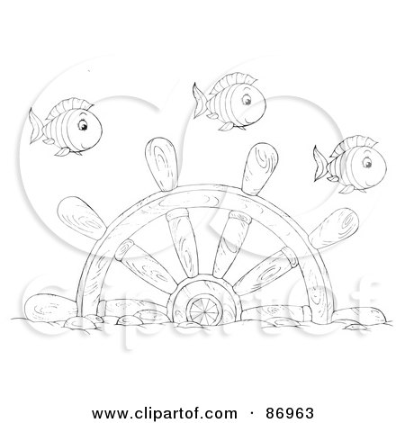 Royalty-Free (RF) Clipart Illustration of Outlined Fish Swimming Over A Sunken Helm by Alex Bannykh