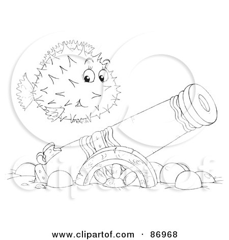 Royalty-Free (RF) Clipart Illustration of an Outlined Blowfish Over A Sunken Canon by Alex Bannykh