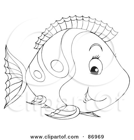 Royalty-Free (RF) Clipart Illustration of a Cute Outlined Marine Fish - Version 1 by Alex Bannykh