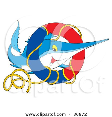 Royalty-Free (RF) Clipart Illustration of a Marlin Fish With A Life Buoy by Alex Bannykh