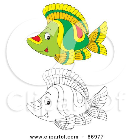 Royalty-Free (RF) Clipart Illustration of a Digital Collage Of Colored And Black And White Tropical Fish - Version 5 by Alex Bannykh