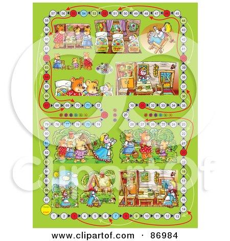 Royalty-Free (RF) Clipart Illustration of a Green Goldilocks And The Three Bears Board Game Layout by Alex Bannykh