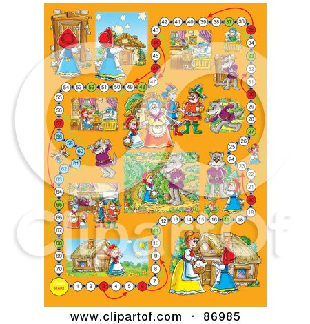 Royalty-Free (RF) Clipart Illustration of a Little Red Riding Hood Board Game Layout by Alex Bannykh