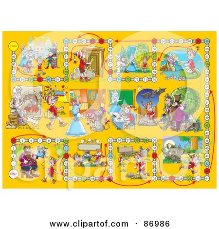 Royalty-Free (RF) Clipart Illustration of a Yellow Pinocchio Board Game Layout by Alex Bannykh