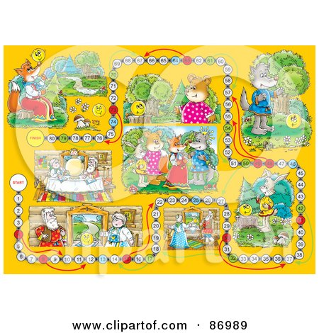 Royalty-Free (RF) Clipart Illustration of a Yellow Animal Board Game Layout by Alex Bannykh