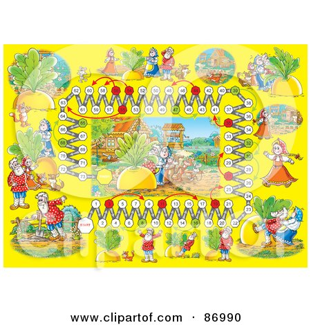 Royalty-Free (RF) Clipart Illustration of a Giant Turnip Fairy Tale Board Game Layout by Alex Bannykh