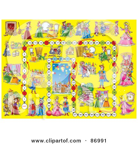 Royalty-Free (RF) Clipart Illustration of a Yellow Cinderella Board Game Layout by Alex Bannykh