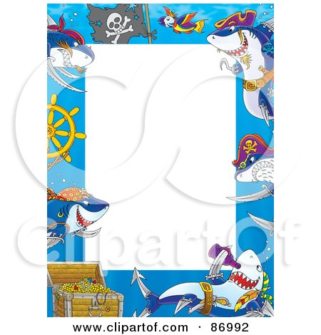 Royalty-Free (RF) Clipart Illustration of a Pirate Shark Frame Around White Space by Alex Bannykh