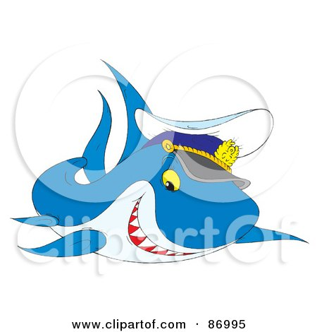Royalty-Free (RF) Clipart Illustration of a Cute Captain Shark by Alex Bannykh