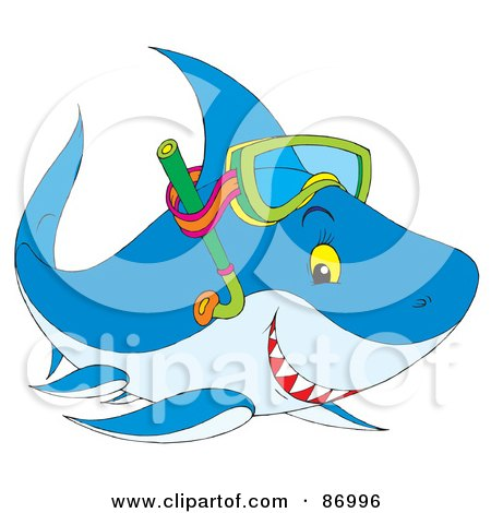 Royalty-Free (RF) Clipart Illustration of a Cute Snorkel Shark by Alex Bannykh