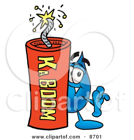 Clipart Picture of a Water Drop Mascot Cartoon Character Standing With a Lit Stick of Dynamite by Toons4Biz