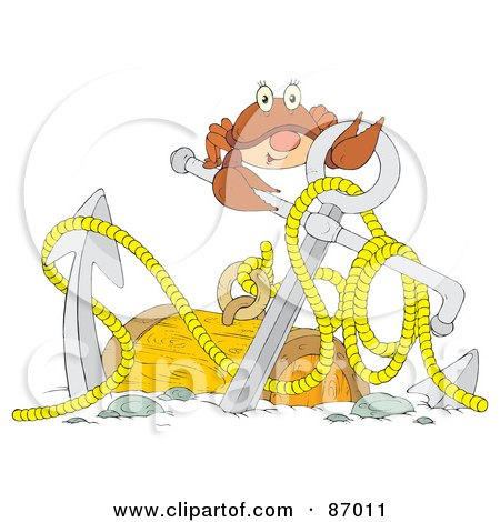 Royalty-Free (RF) Clipart Illustration of a Brown Crab With An Anchor And Sunken Treasure by Alex Bannykh