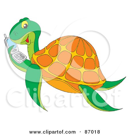 Royalty-Free (RF) Clipart Illustration of a Chatty Sea Turtle Holding A Cell Phone by Alex Bannykh
