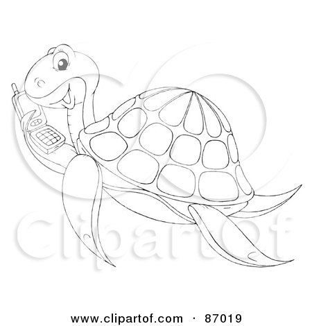 Royalty-Free (RF) Clipart Illustration of an Outlined Sea Turtle Holding A Cell Phone by Alex Bannykh