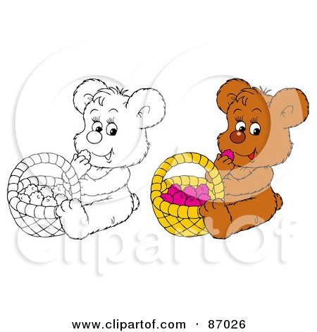 Royalty-Free (RF) Clipart Illustration of a Digital Collage Of Colored And Black And White Bear Eating Berries From A Basket by Alex Bannykh