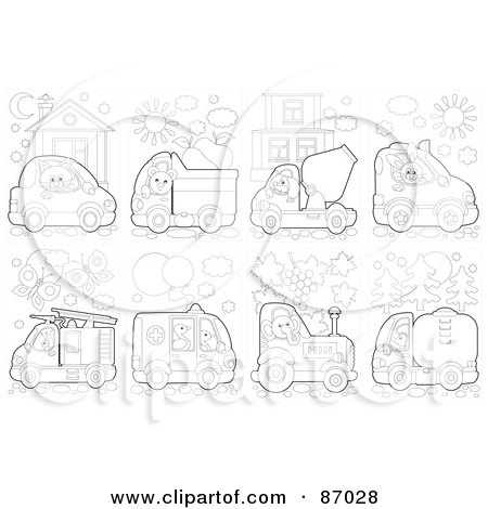 Royalty-Free (RF) Clipart Illustration of a Digital Collage Of Outlined Animals Driving Vehicles by Alex Bannykh