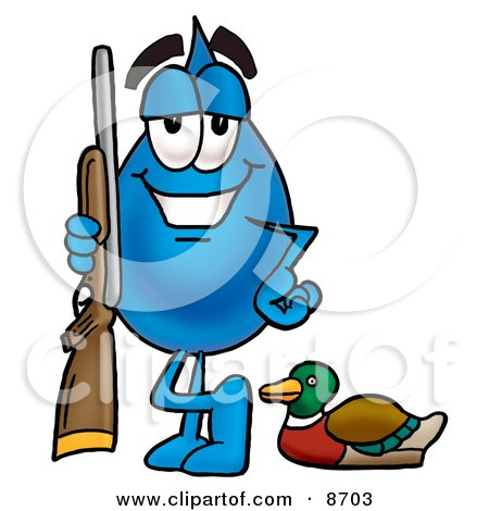 Clipart Picture of a Water Drop Mascot Cartoon Character Duck Hunting, Standing With a Rifle and Duck by Toons4Biz