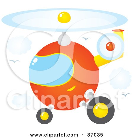 Royalty-Free (RF) Clipart Illustration of a Round Orange Helicopter In A Sky With Clouds And Gulls by Alex Bannykh