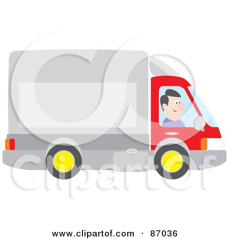 Royalty-Free (RF) Clipart Illustration of a Happy Trucker Driving His Big Rig by Alex Bannykh