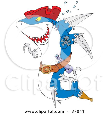 Royalty-Free (RF) Clipart Illustration of a Pirate Shark With Weapons And A Red Hat by Alex Bannykh