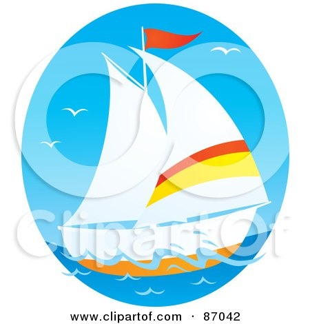 Royalty-Free (RF) Clipart Illustration of an Oval Scene Of Gulls And A Sailboat by Alex Bannykh