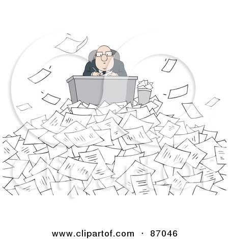Royalty-Free (RF) Clipart Illustration of a Businessman Hard At Work Behind His Desk, Surrounded By Pages by Alex Bannykh